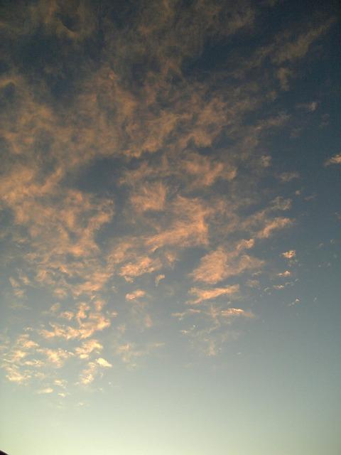 病院を出ると薔薇色の夕雲